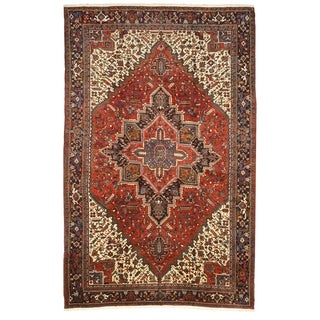 Hand-knotted Wool Rust Traditional Oriental Heriz Rug (10'1 x 15'6)