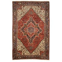 """Hand-knotted Wool Rust Traditional Oriental Heriz Rug (10'1 x 15'6) - 10' x 16"""""""