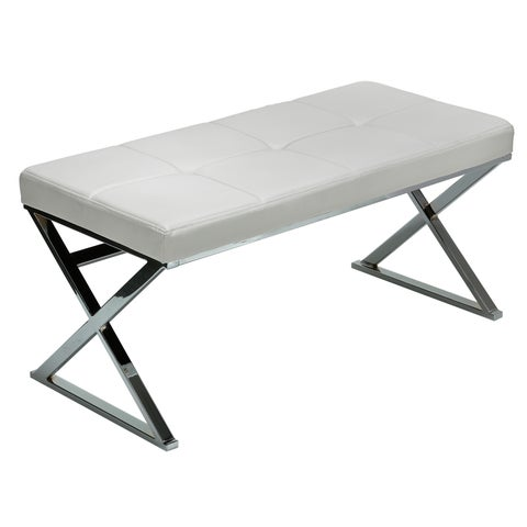 Clay Alder Home Carrick White Chrome Faux Leather Steel Entryway Bench