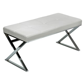 Zio Contemporary White Chrome Faux Leather Steel Entryway Bench