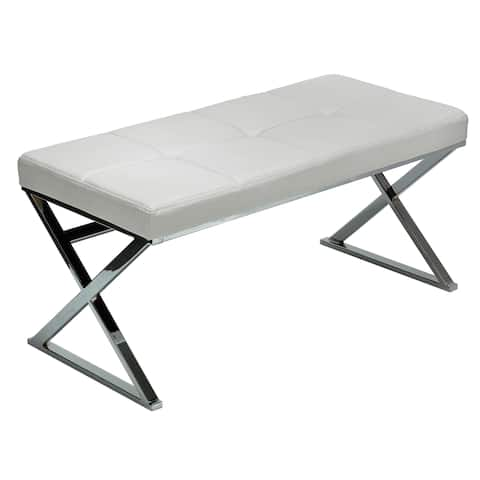 Silver Orchid Costello White Chrome Faux Leather Steel Entryway Bench