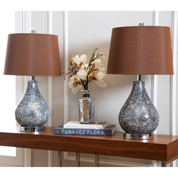 Abbyson Camille Mosaic Glass 21.5-inch Table Lamp (Set of 2)