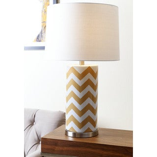 ABBYSON LIVING Madison Mustard Yellow Chevron Table Lamp