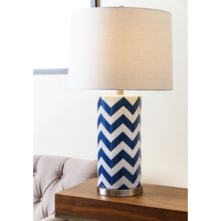 ABBYSON LIVING Madison Navy Blue Chevron Table Lamp