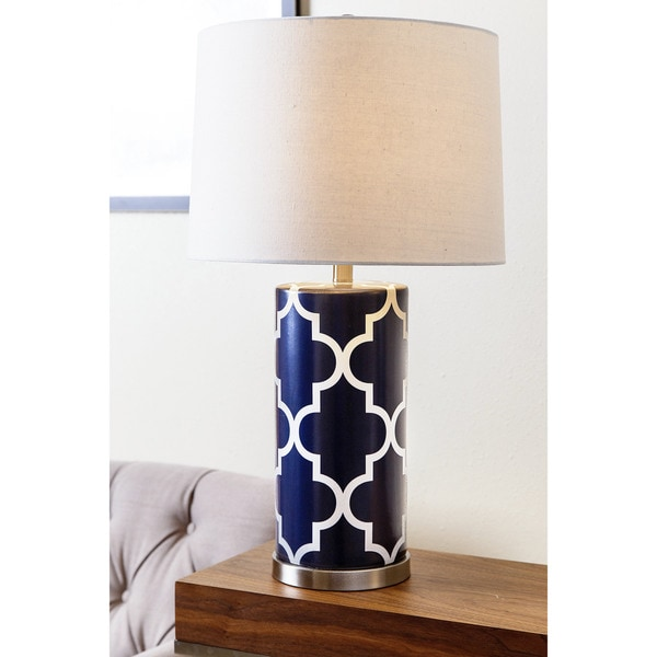 Navy Blue Table Lamps: Abbyson Madison Navy Blue Lattice Table Lamp,Lighting