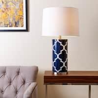 Abbyson Madison Navy Blue Lattice Table Lamp