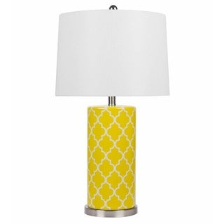 ABBYSON LIVING Madison Yellow Lattice Table Lamp