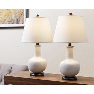 Abbyson Lauren White Ceramic Table Lamp (Set of 2)