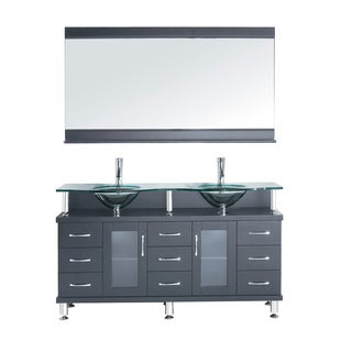 Virtu USA Vincente Rocco 59-inch Double Bathroom Vanity Cabinet Set in Grey