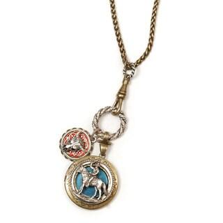 Sweet Romance Cowboy & Steer Skull Long Locket Necklace