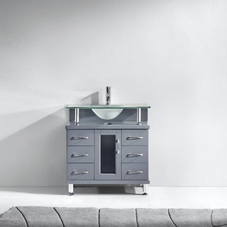 Virtu USA Vincente 32-inch Single Bathroom Vanity Cabinet in Grey