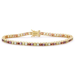 Gioelli 14k Goldplated Multi-colored 2.5mm Princess-cut Created Gemstone Bracelet
