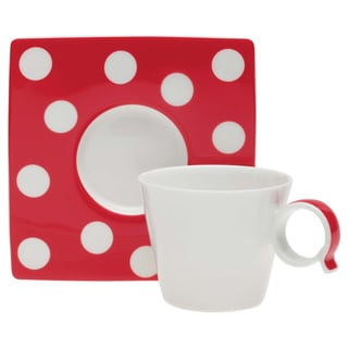 Red Vanilla Freshness Dots Red Espresso Cup / Saucer Set of 6