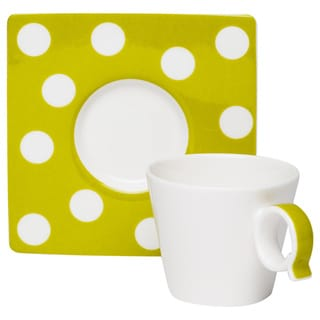 Red Vanilla Freshness Dots Olive Espresso Cup/ Saucer (Set of 6)