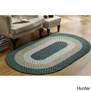 Stripe Indoor/ Outdoor Oval Braided Rug (54 x 84) by Better Trends (Hunter Stripe - 54 x 84 Oval)