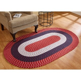 Stripe Indoor/ Outdoor Oval Braided Rug (54 x 84) by Better Trends (Americana - 54 x 84 Oval)