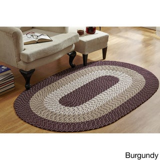Stripe Indoor/ Outdoor Oval Braided Rug (54 x 84) by Better Trends (Burgundy Stripe - 54 x 84 Oval)