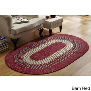 Stripe Indoor/ Outdoor Oval Braided Rug (54 x 84) by Better Trends (Barn Red - 54 x 84 Oval/Surplus)