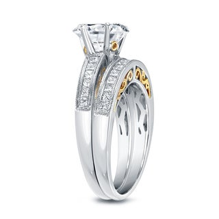 Auriya 14k Two Tone Gold 1 3/4ct TDW Certified Round Cut Diamond Bridal Ring Set (H-I, SI1-SI2)