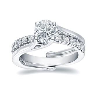 Auriya 14k White Gold 1ct TDW Certified Round-cut Diamond Insert Bridal Ring Set