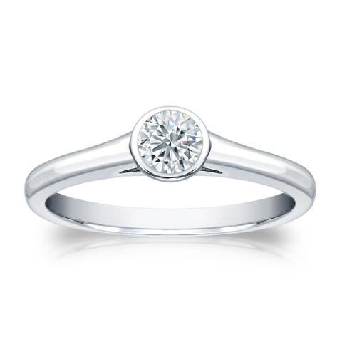 Auriya Platinum 1/3ctw Bezel-set Solitaire Diamond Engagement Ring