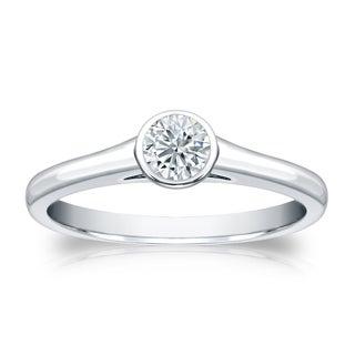 Auriya Round Bezel Set 1 3ct TDW Diamond Solitaire Engagement Ring Platinum