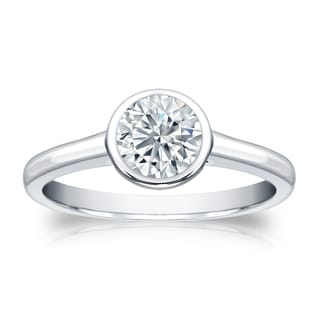 Auriya Platinum 3/4ct TDW Round-cut Diamond Bezel Solitaire Engagement Ring (H-I, SI1-SI2)