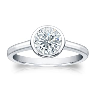 Auriya Platinum 1ct TDW Round-cut Diamond Bezel Solitaire Engagement Ring (H-I, SI1-SI2)