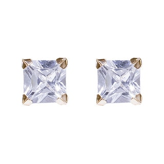 14KY cubic zarconia square earring