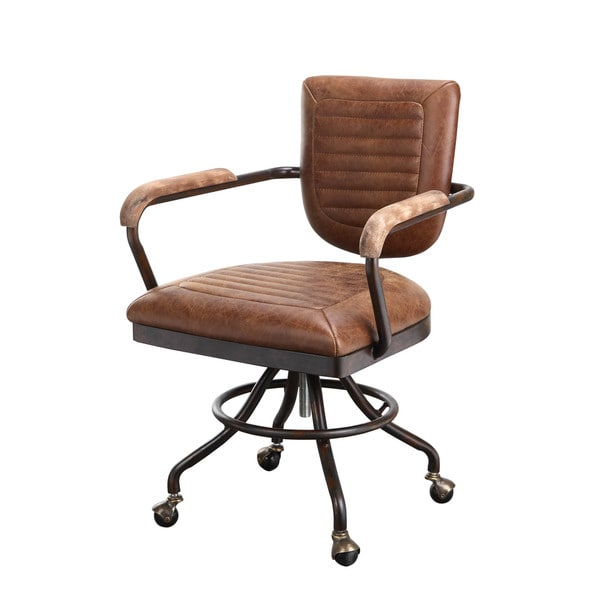aurelle home rustic vintage soft brown leather desk chair free shipping today. Black Bedroom Furniture Sets. Home Design Ideas