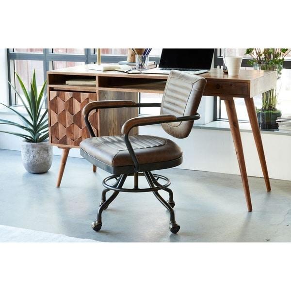 Phenomenal Aurelle Home Rustic Vintage Soft Brown Leather Desk Chair Download Free Architecture Designs Sospemadebymaigaardcom
