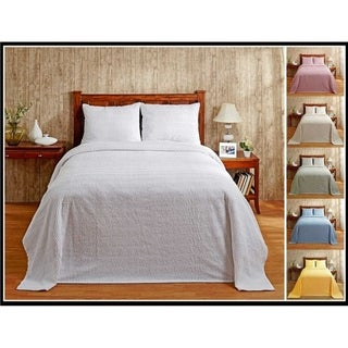 Better Trends Natick Collection in Wavy Channel Stripes Design 100% Cotton Tufted Chenille Bedspreads & Shams