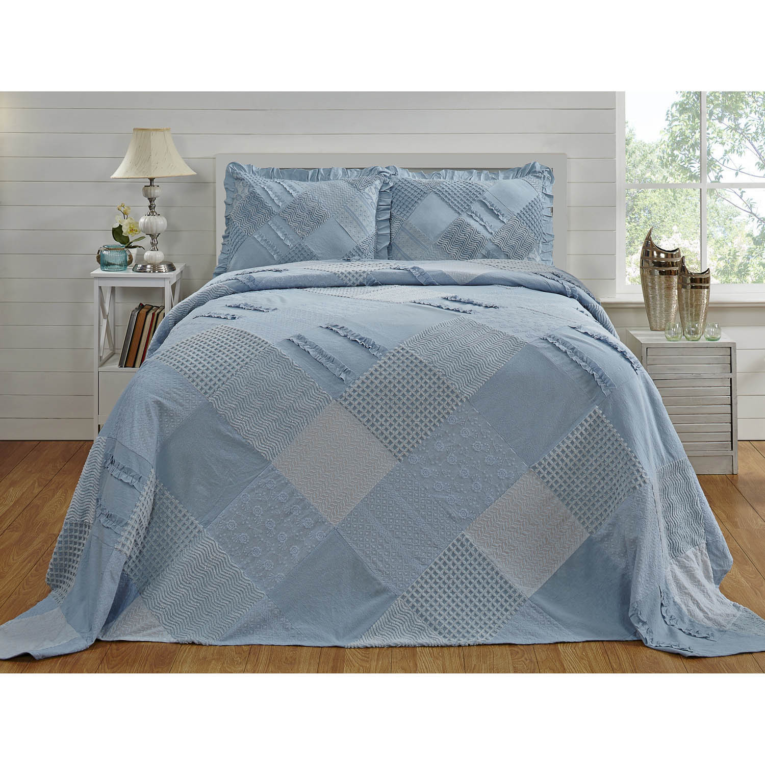 Chenille Ruffled Bedspread by Better Trends (Blue - Queen)