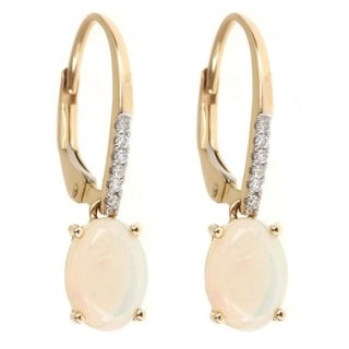Anika and August 14k Yellow Gold Oval-cut Australian Opal and Diamond Earrings