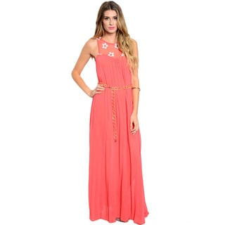 Shop The Trends Women's Sleeveless Woven Maxi Dress with Sheer Mesh Yoke and Chain Belt