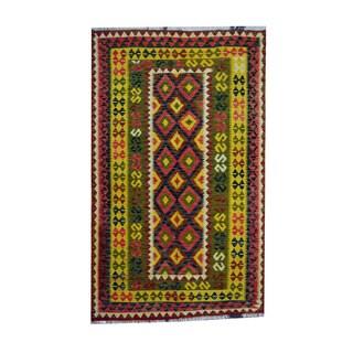 Herat Oriental Afghan Hand-woven Tribal Vegetable Dye Wool Kilim (4'2 x 6'9)