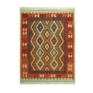 Herat Oriental Afghan Hand-woven Tribal Vegetable Dye Wool Kilim (5'2 x 6'8)