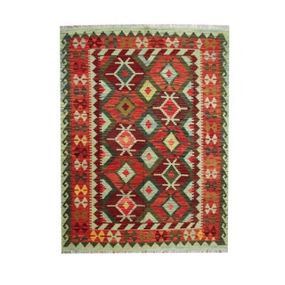 Herat Oriental Afghan Hand-woven Tribal Vegetable Dye Kilim Red/ Green Wool Rug (5' x 6'7)