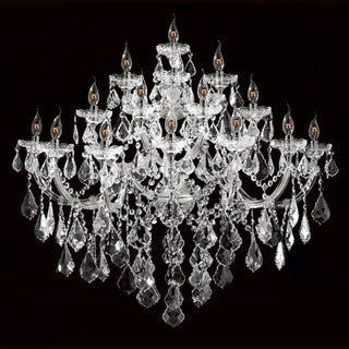 Maria Theresa 15-light Chrome Finish and Crystal Large Candle 4-tier 40-inch Wide Extra Large Wall Sconce