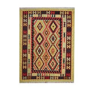 Herat Oriental Afghan Hand-woven Tribal Vegetable Dye Kilim Rust/ Burgundy Wool Rug (5' x 6'8)
