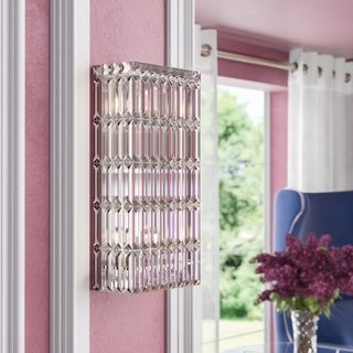 Glam Art Deco Style 4-light Chrome Finish Crystal Wall Sconce