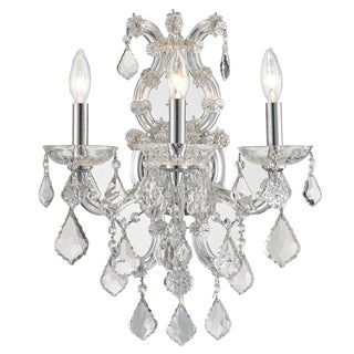 Maria Theresa Imperial 3-light Chrome Finish and Clear Crystal Candle Wall Sconce Light