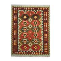 Handmade Herat Oriental Afghan Tribal Vegetable Dye Wool Kilim - 5'2 x 6'7 (Afghanistan)