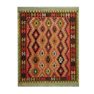 Herat Oriental Afghan Hand-woven Tribal Vegetable Dye Kilim Rust/ Burgundy Wool Rug (5'1 x 6'6)