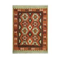 Handmade Herat Oriental Afghan Tribal Vegetable Dye Wool Kilim - 5'3 x 6'10 (Afghanistan)