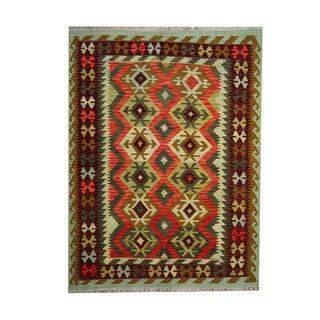 Herat Oriental Afghan Hand-woven Tribal Vegetable Dye Wool Kilim (5' x 6'8)