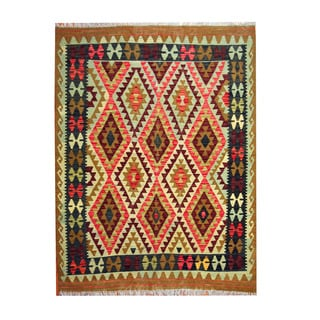 Herat Oriental Afghan Hand-woven Tribal Vegetable Dye Kilim Turquoise/ Green Wool Rug (5'1 x 6'8)