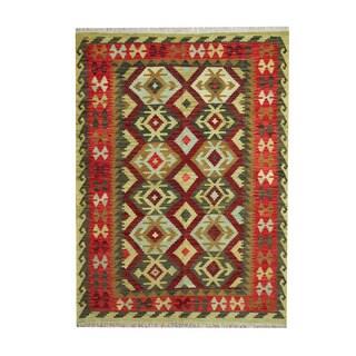 Herat Oriental Afghan Hand-woven Tribal Vegetable Dye Kilim Burgundy/ Red Wool Rug (5' x 6'8)