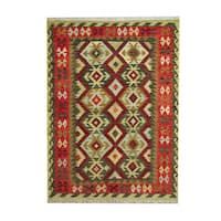 Herat Oriental Afghan Hand-woven Tribal Vegetable Dye Wool Kilim (5' x 6'8)