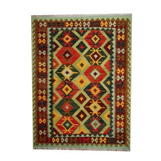 Herat Oriental Afghan Hand-woven Tribal Vegetable Dye Wool Kilim (5'2 x 6'10)